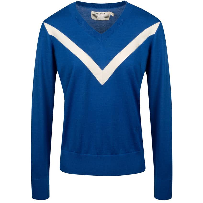 Tory Sport Womens Performance Cashmere Chevron Sweater Surf Blue/Snow White