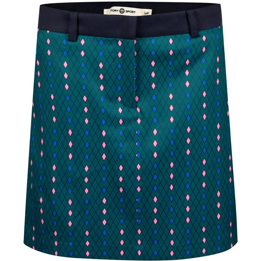 Tory Sport Womens Printed Tech Twill Golf Skirt Marathon Argyle