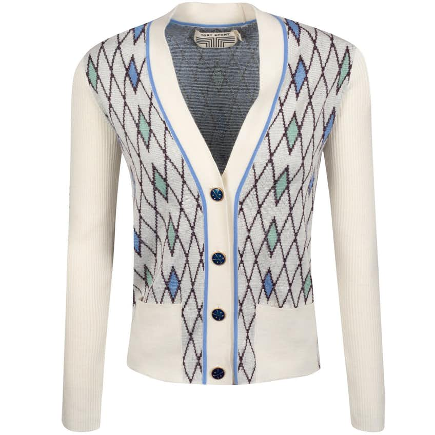 Tory Sport Womens Performance Merino Argyle Cardigan Snow White Argyle