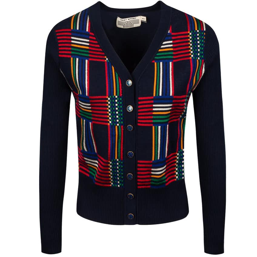 Tory Sport Womens Soft Tech Knit Jacquard Cardigan Tory Navy Mosaic Plaid