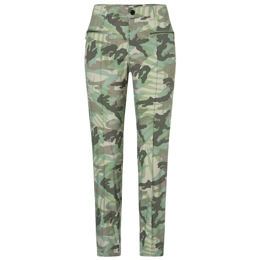 Womens Karen-G Camo Palm Leaf Print Trousers Seaweed - SS20