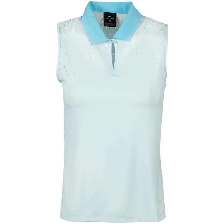 Womens Dry Ace Summer Jacquard Sleeveless Polo Topaz Mist - Summer 20