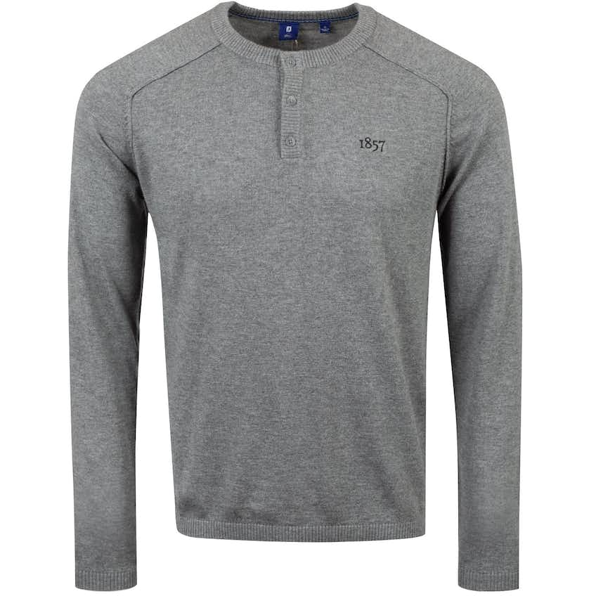 1857 Merino/Cotton Henley Sweater Heather Grey - AW20