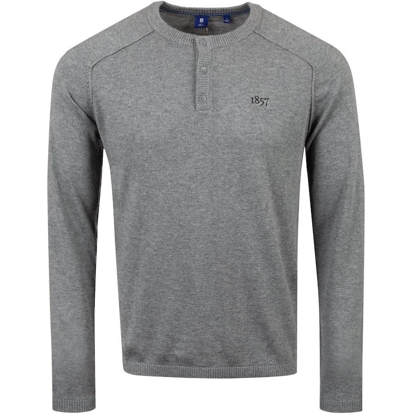 1857 Merino/Cotton Henley Sweater Heather Grey - AW20 0
