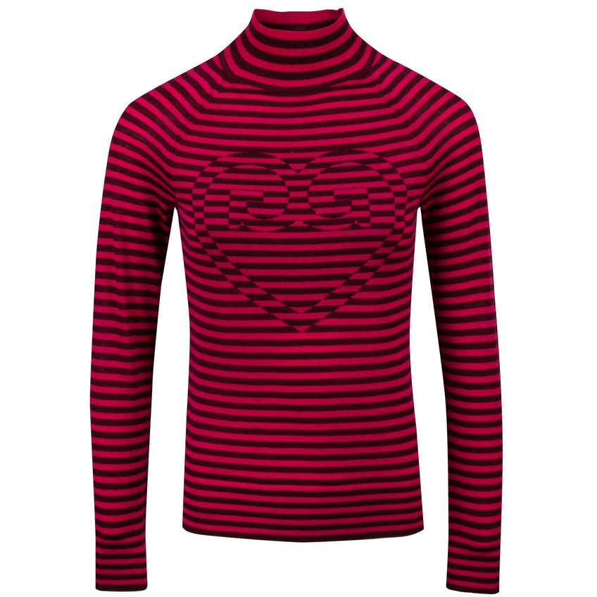 Womens Striped Super Turtle Sweater Bright Rose/Port - AW20