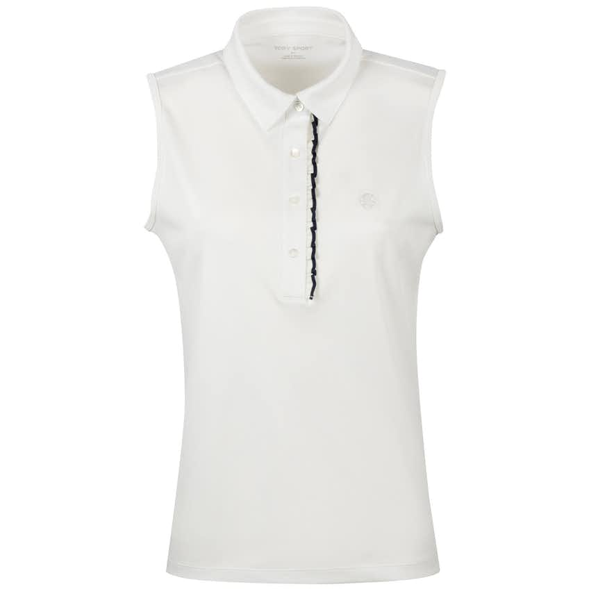 Tory Sport Womens Tech Pique Sleeveless Ruffle Polo Snow White - AW20