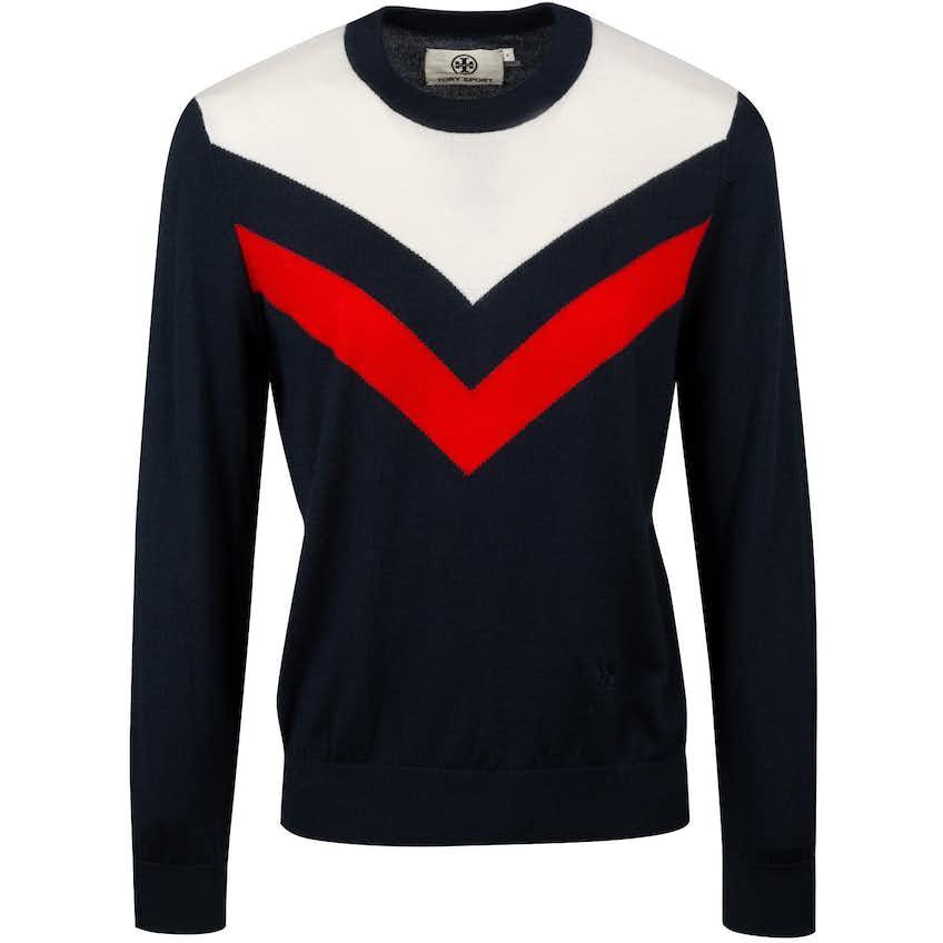 Tory Sport Womens Performance Cashmere Chevron Sweater Tory Navy - AW20