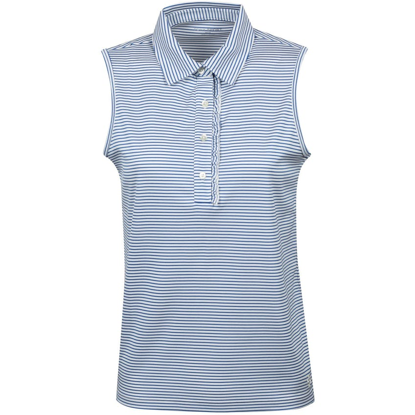 Tory Sport Womens Performance Striped Sleeveless Ruffle Polo Surf Blue Pinstripe - AW20