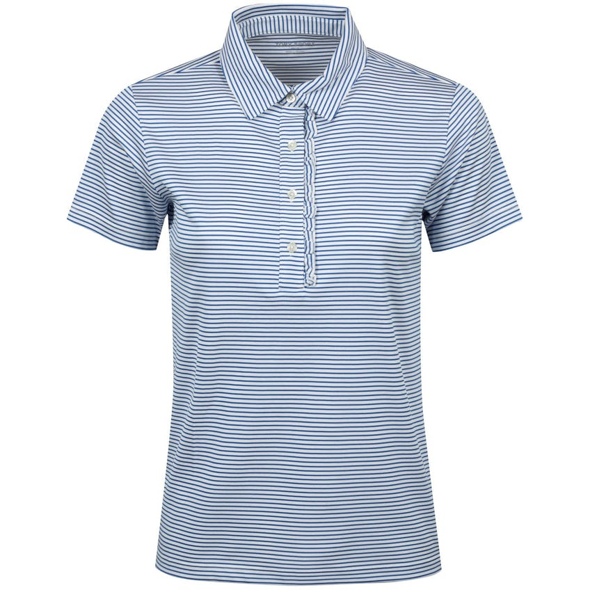 Tory Sport Womens Performance Striped Ruffle Polo Surf Blue Pinstripe - AW20