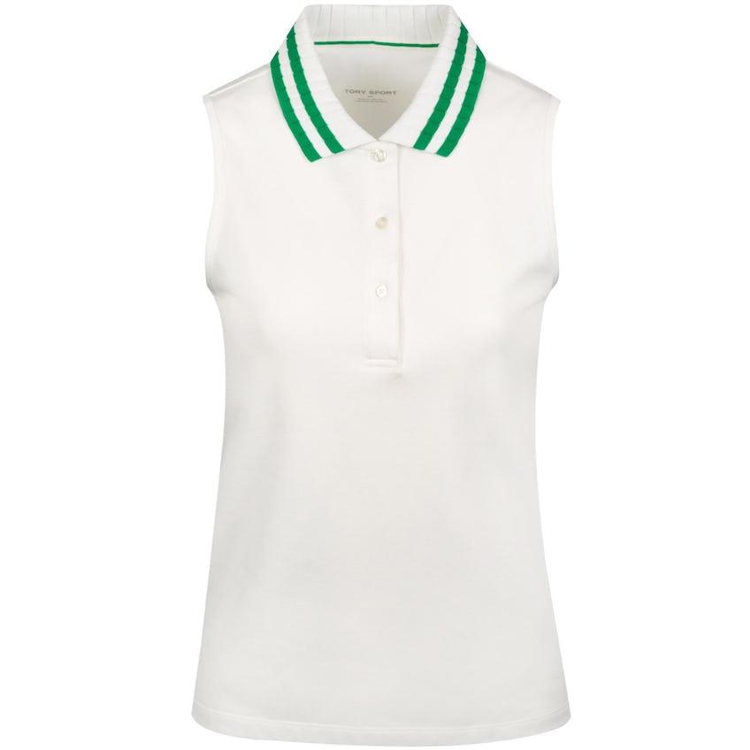 Tory Sport Womens Performance Pique Pleated-Collar Sleeveless Polo Snow White/Vineyard - AW20 0