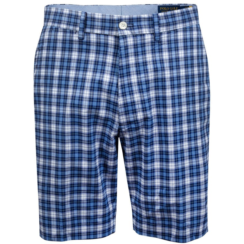 Printed Cotton Stretch Twill Short Nantucket Blue Plaid - AW20