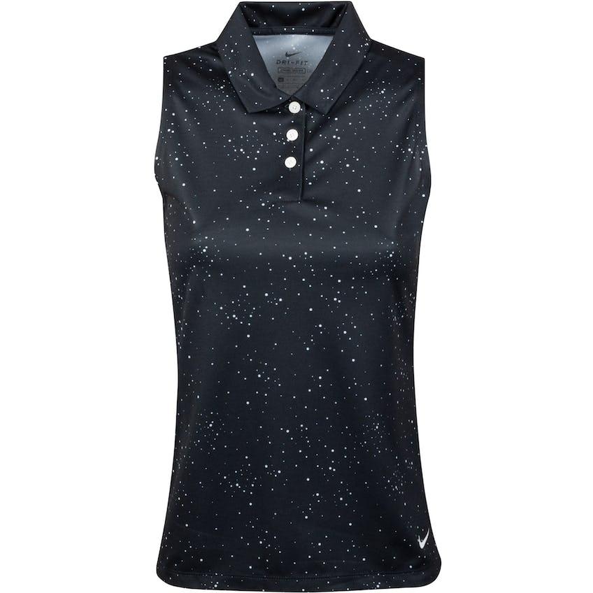 Womens Dry Sleeveless Dot Print Polo Black/White - SS21