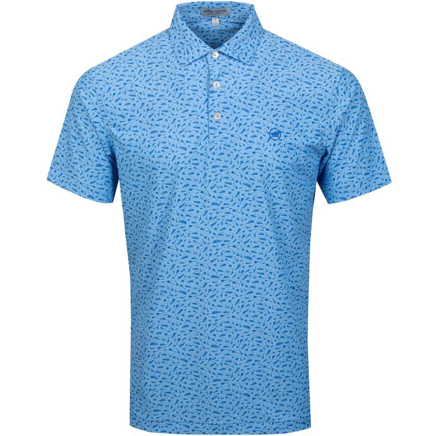 Griffins Print Yacht Rock Mesh Polo Shirt Cape Blue - SS21