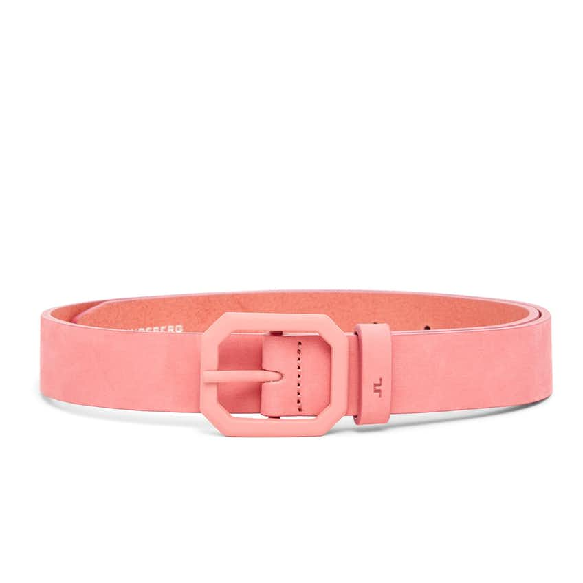 Womens Bibbi Brushed Leather Belt Tropical Coral - SS21