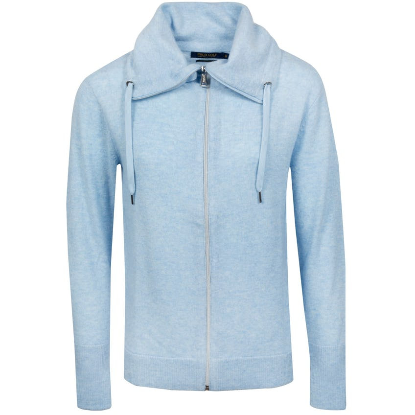 Womens Cashmere Funnel Neck Sweater Blue Lagoon Heather - SS21 0