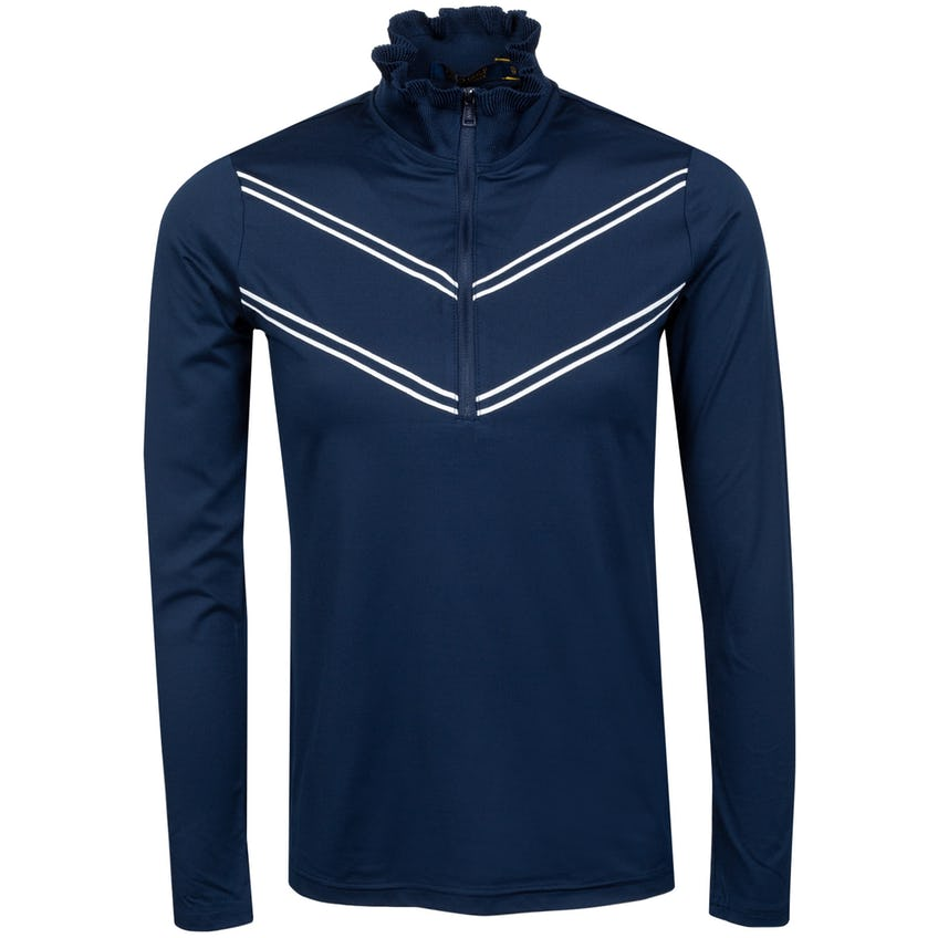 Womens Carbon Soft Ruffle Quarter Zip French Navy/Pure White - SS21