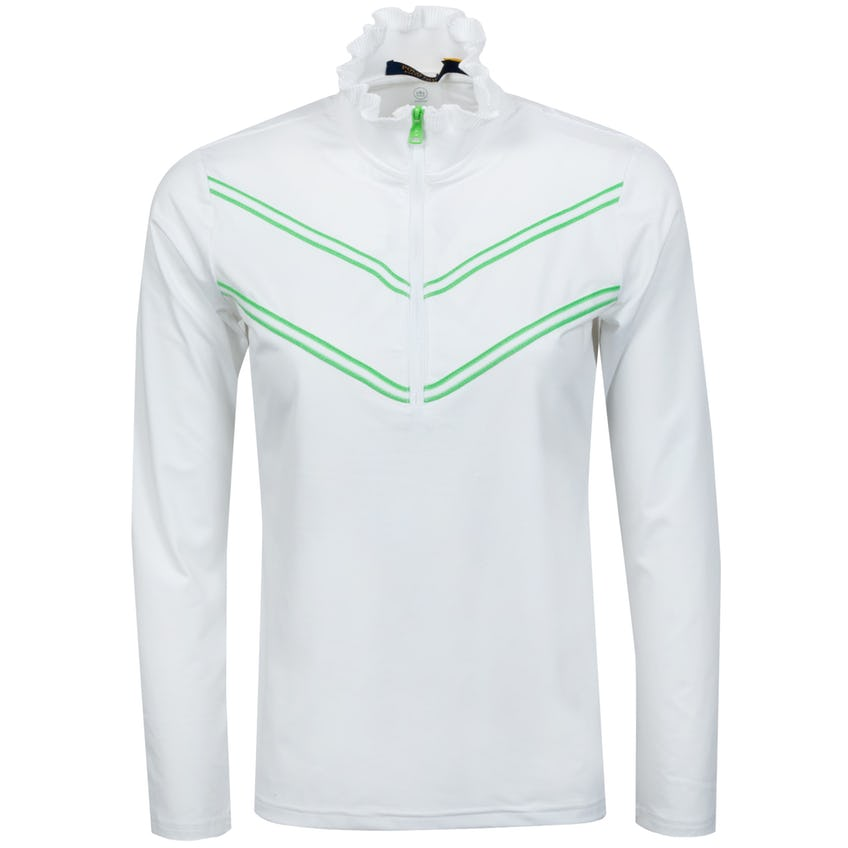 Womens Carbon Soft Ruffle Quarter Zip Pure White/Force Green - SS21