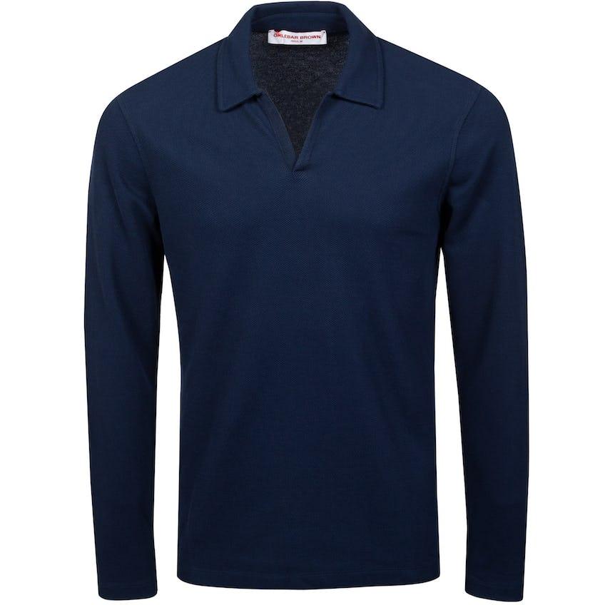 Felix LS Waffle Polo Shirt Navy 0
