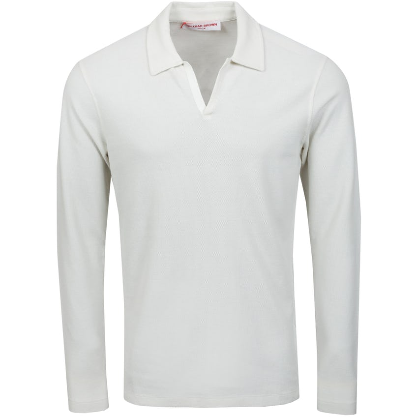 Felix LS Waffle Polo Shirt White Sand 0