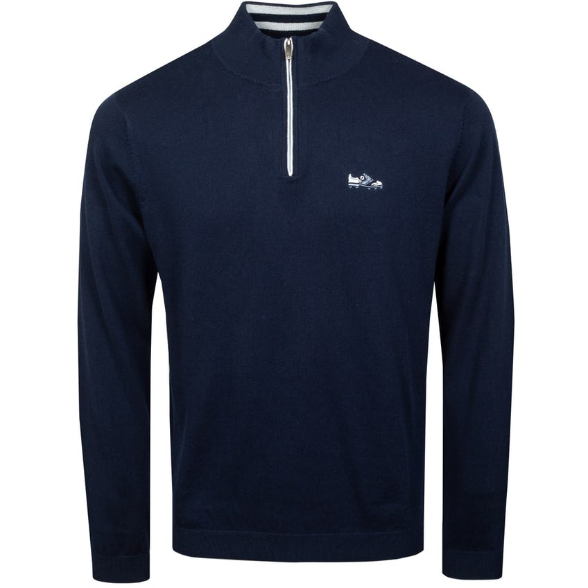 Cotton Cashmere Quarter-Zip Sweater Navy - SS21