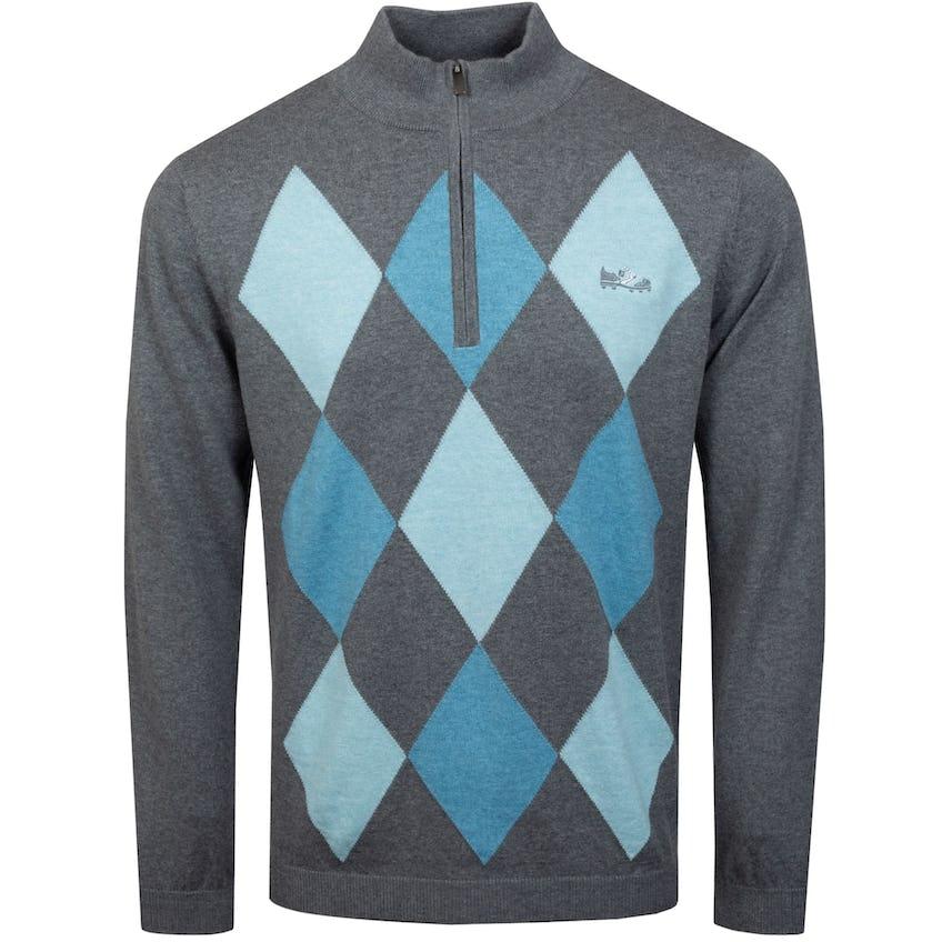 Cotton Cashmere Heather Argyle Sweater Grey/Aqua/Azure - SS21