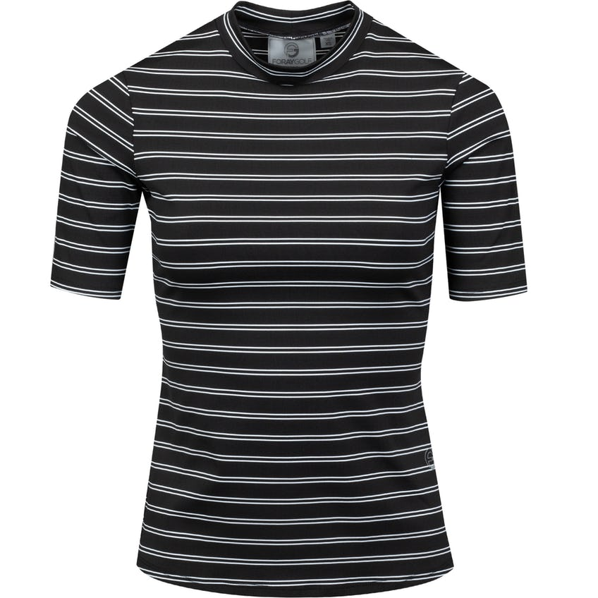 Womens High Society Stripe Rib Top Black 0