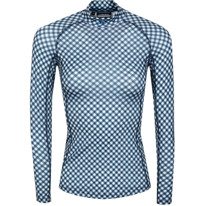 Womens Asa Print Soft Compression Top Gingham Navy/White - SS21