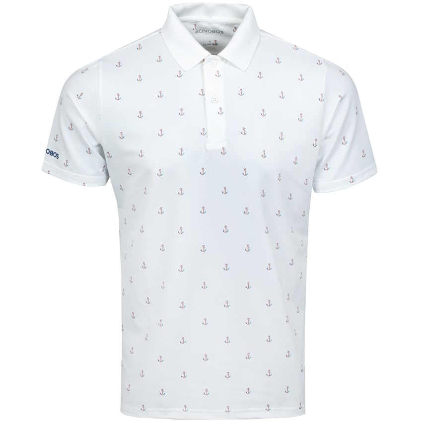 The Performance Print Polo Slim White Anchors - SS21