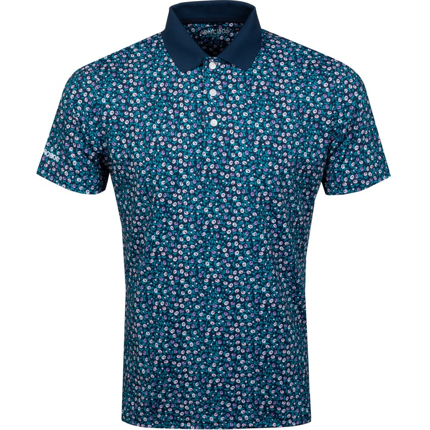 Justin Rose Performance Polo Slim Navy Micro Floral - SS21