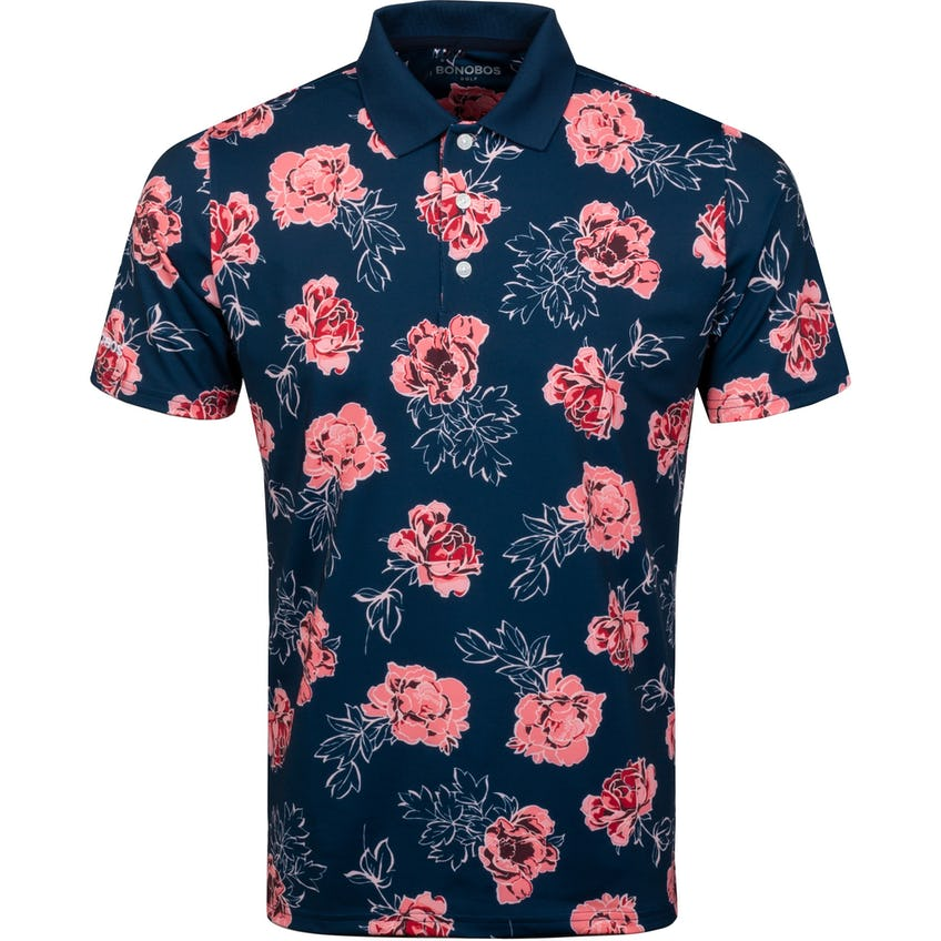 Justin Rose Performance Polo Slim Navy Somerset Roses - SS21